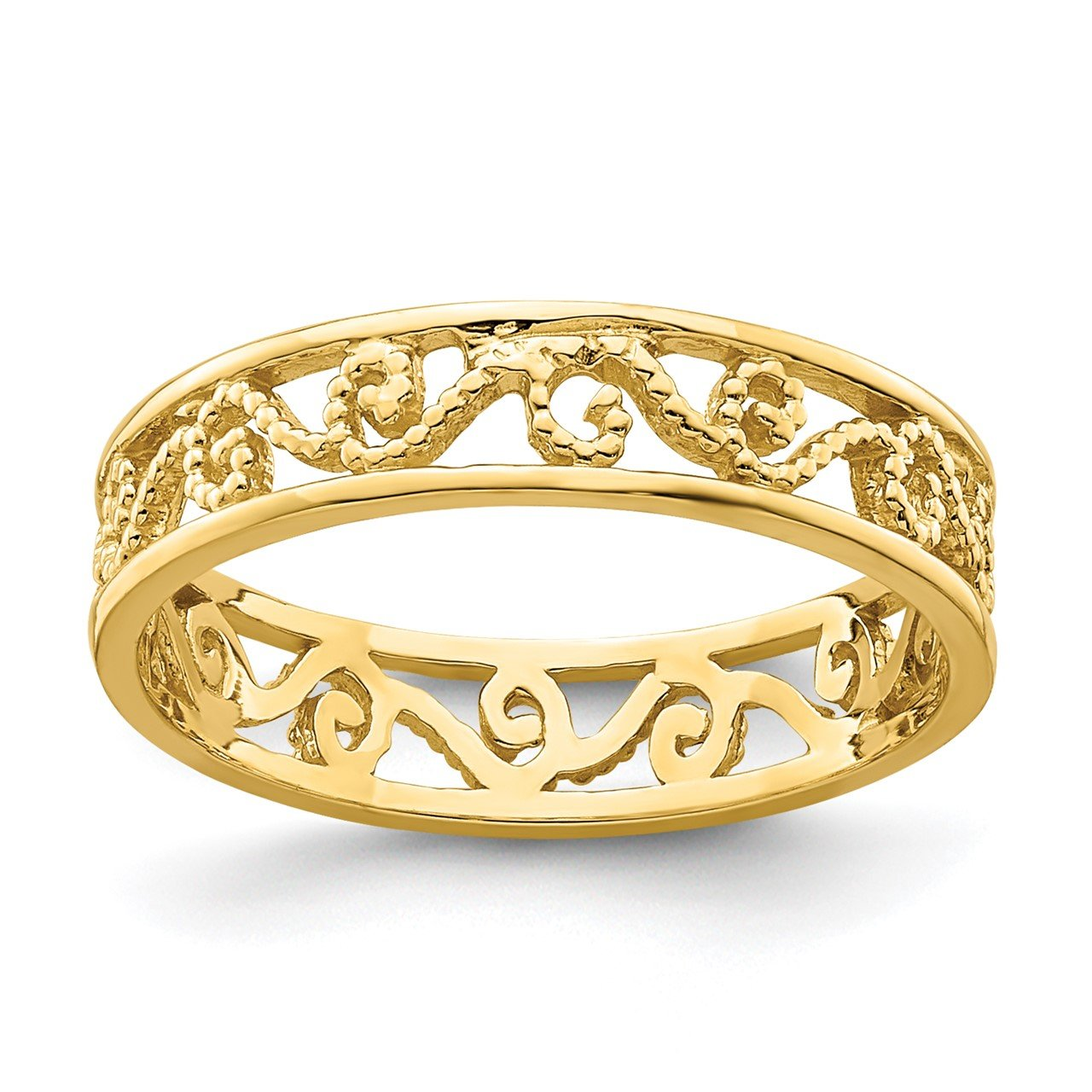 14k Beaded Scroll Cut-Out Band Toe Ring