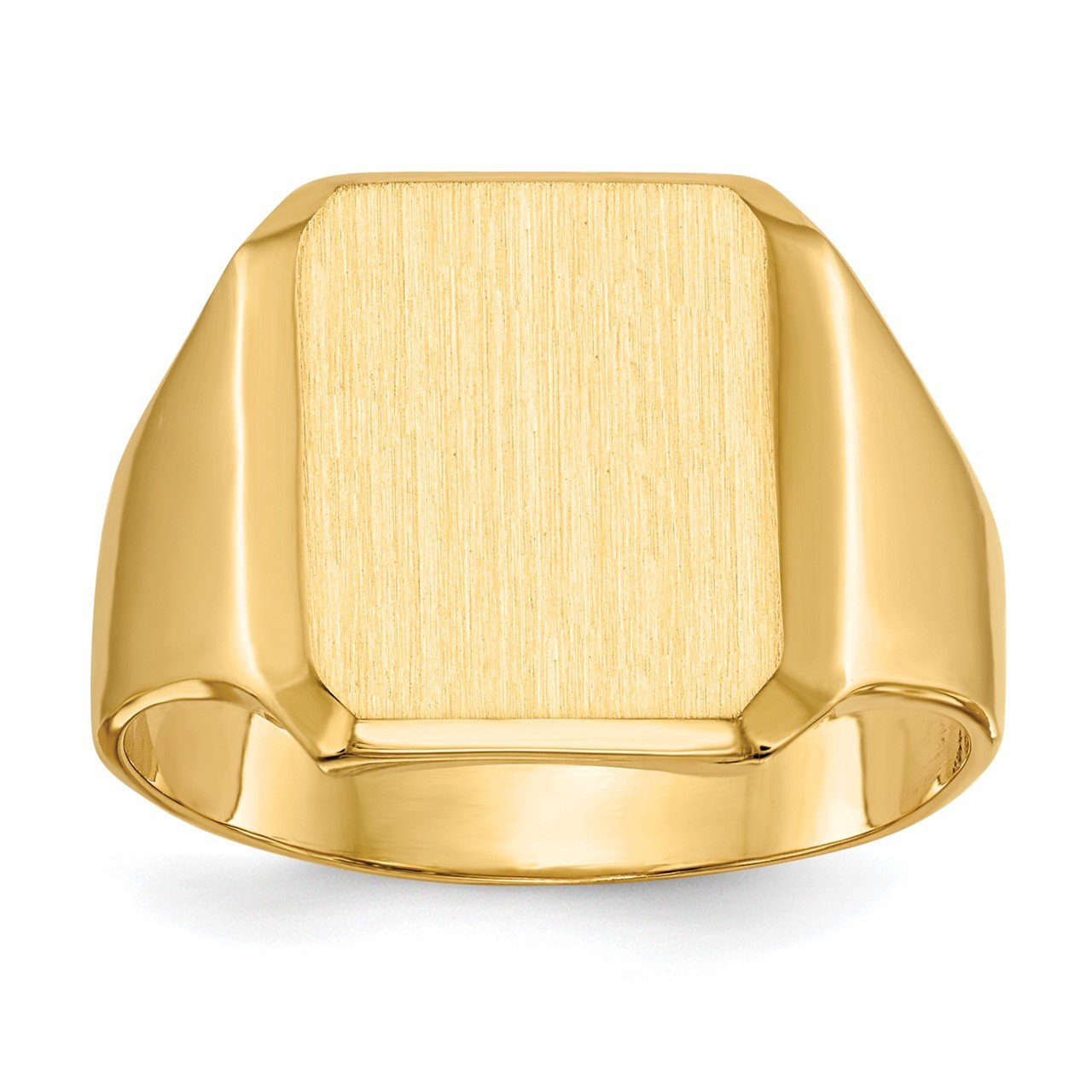 14k 15.0x12.5mm Closed Back Men's Signet Ring