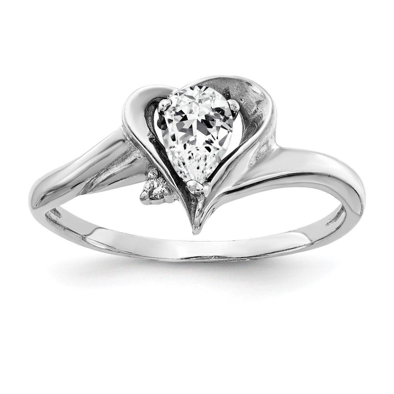 14k White Gold 6x4mm Pear Cubic Zirconia VS Diamond ring