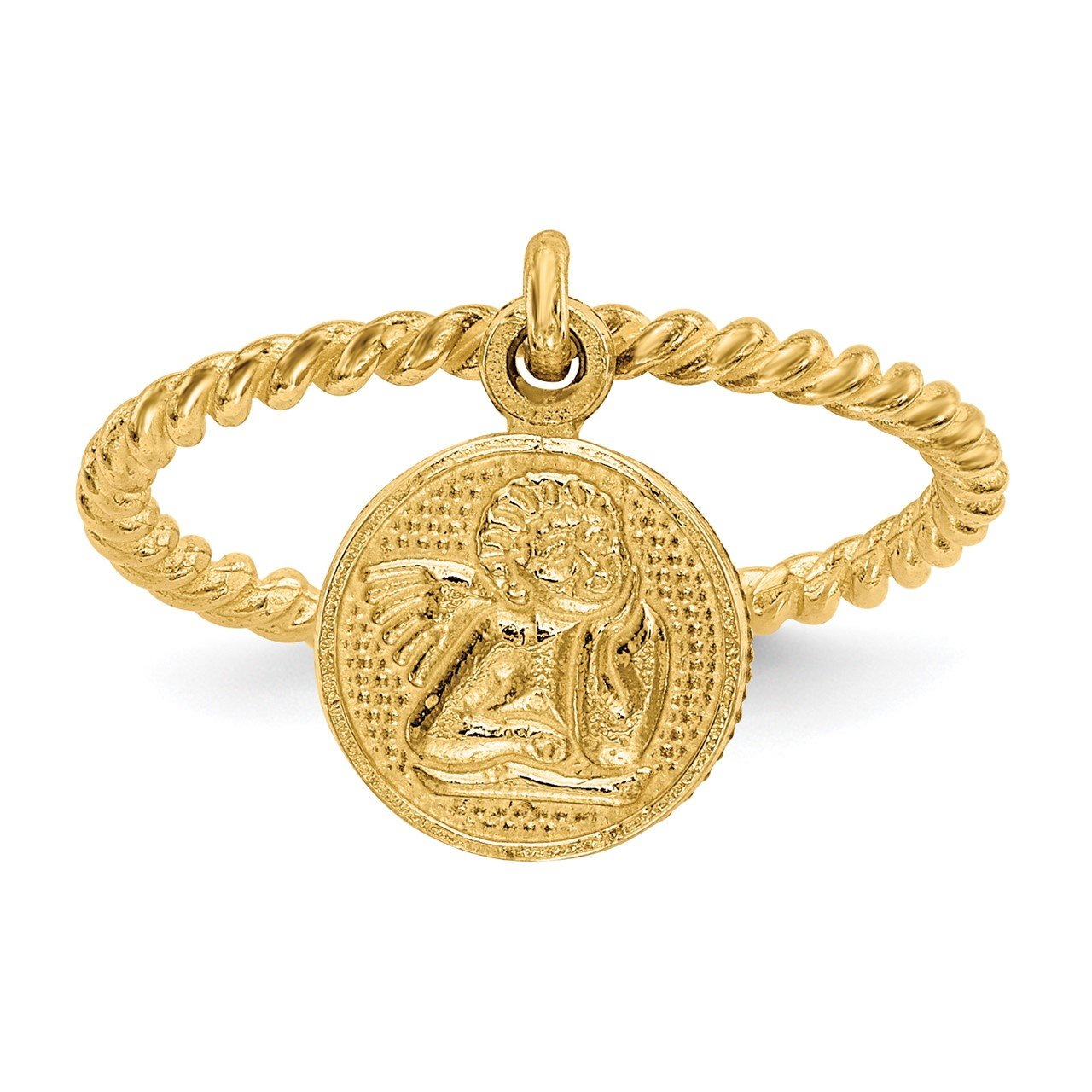 14k Polished Angel Dangle Charm Child's Ring