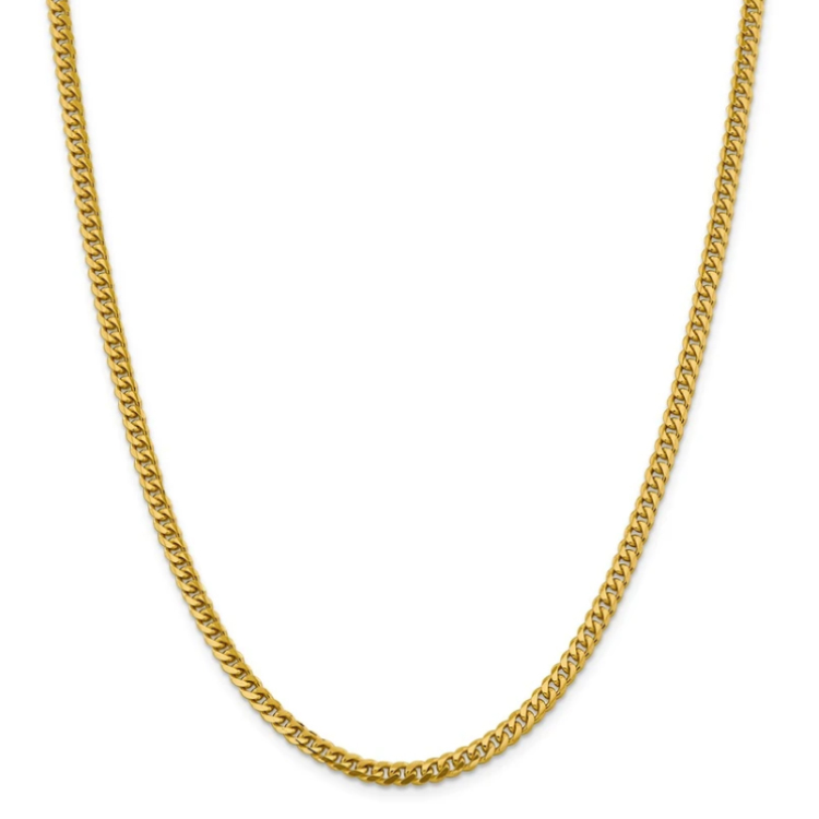 14k Yellow Gold 4.25mm Solid Miami Cuban Link