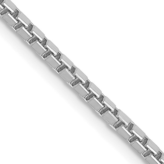 14K White Gold 16 inch 1.9mm Box with Lobster Clasp Chain